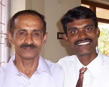 Left is Sathiyamoorthy who was our first pastor for deaf in India.  He began working in 1998 in Thanjavur.  Beside him is the present Pastor, Manikaraj.  From the humble beginning in 1998 the work force has grown from one and is heading toward the 30 mark.  There have been close to 700 deaf baptized since 1998. We praise God for what HE has done and is doing to take the gospel to deaf in India!  Sathiyamoorthy, though now working as a hearing pastor in the Bangalore area, is also working there in ministry to deaf.  For 16 years Sathiyamoorthy had been a deaf beggar on the streets of India until he found Christ, trained as a pastor, and had an operation allowing him to hear some again.