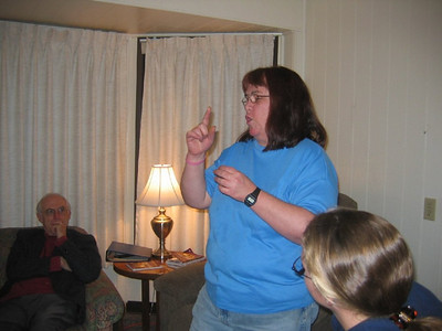 Wendy telling a story during our Sabbath evening worship time.