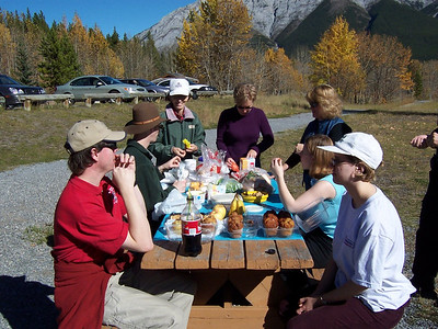 The food tasted so good out in nature with such beautiful scenery in the mountains of Kananasksis country about 150 kilometers (100 miles) SW of Calgary, Alberta, Canada.