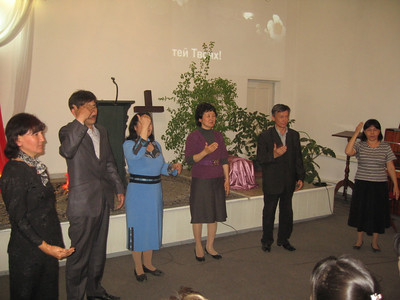 Worship time at Deaf church in Bishkek