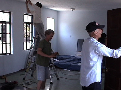Jeff Thompson (center), from Washington State, helping fix up a church for the Deaf in Mexico