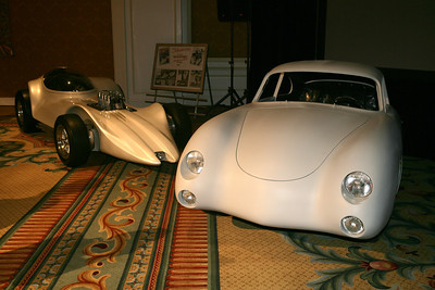 The Porsche posed with Dean Jeffries' masterpiece - The Mantaray at the Amelia Island Concours in 2009. The Porsche is currently undergoing a full restoration to its 1957 configuration.