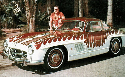 The Von Dutch flamed 300SL Gullwing Mercedes that provided the inspiration for the roof vents in the Carrera