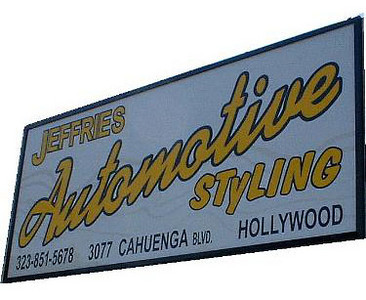 The sign outside of Dean Jeffries shop on Cahuenga Blvd
