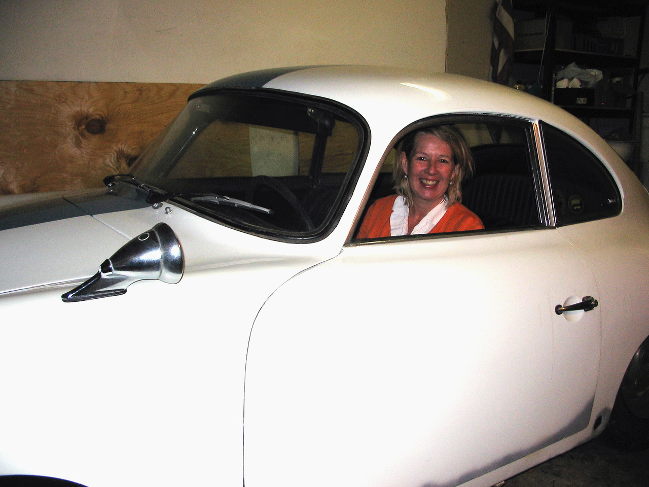 Here's Chantal 32 years later - posing in the same car during a visit to the USA from her home in Amsterdam.