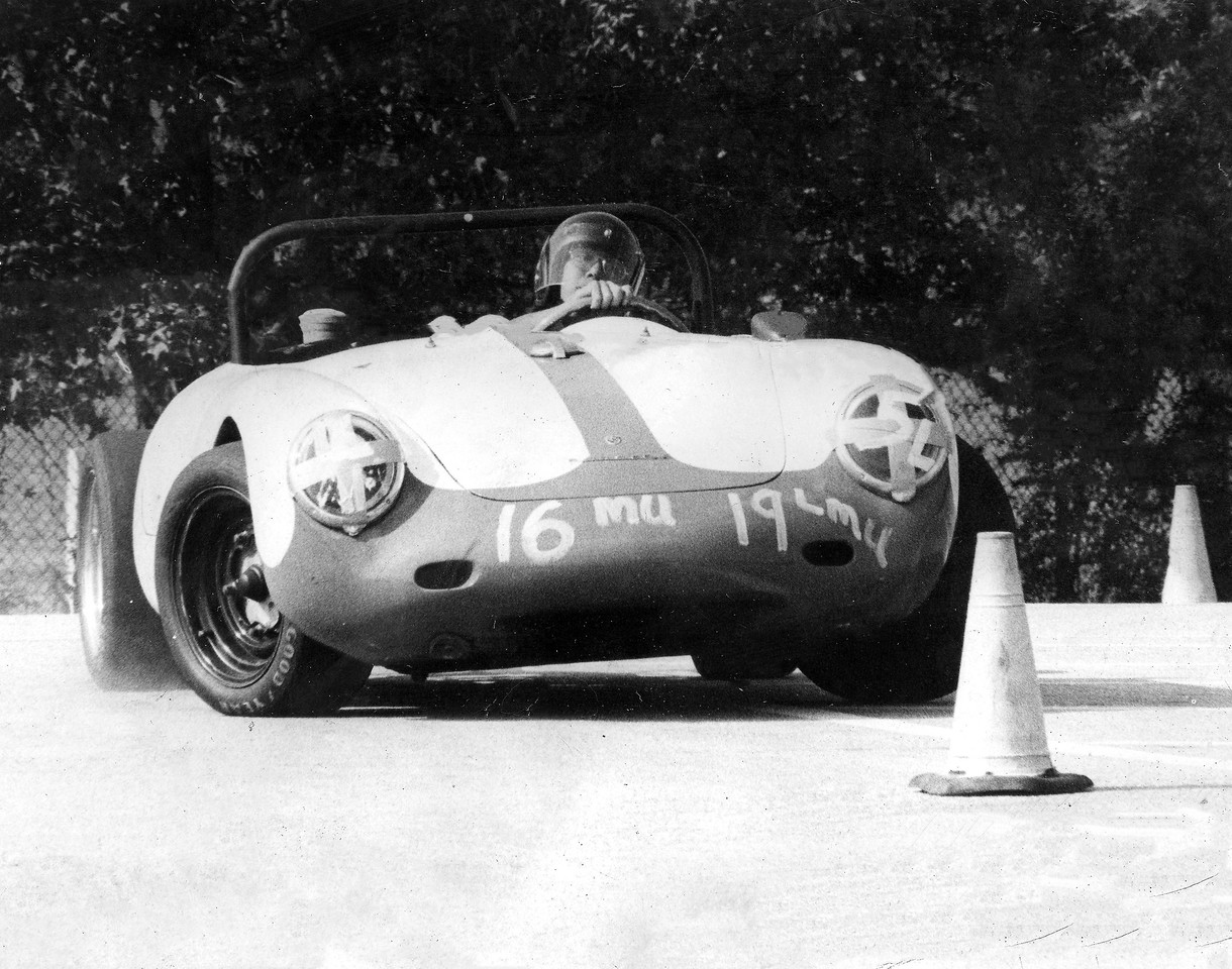 Ernie Cabrera in the mid-1970's autocrossing his Porsche 550A Spyder. Ernie helped me acquire a 4-cam type 547 motor to replace the one that had been removed from the Porsche during the 1960's.