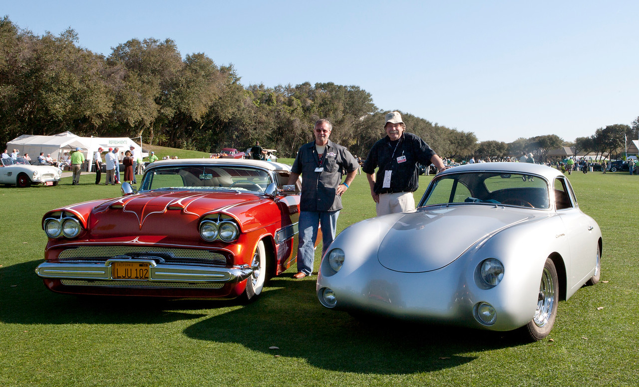 The Carrera and the Aztec posed together at the Amelia Island Concours 49 years after they were purchased by Albert Nussbaum and Bobby Wilcoxson in 1962. Nussbaum and Wilcoxson were bank robbers on the FBI's Ten Most Wanted list when they traveled to California from the East Coast and each purchased a famous custom car. The FBI was trying to track the criminals down through the cars registrations when they contacted Dean Jeffries and Bill Carr - the previous owners of these two classics.