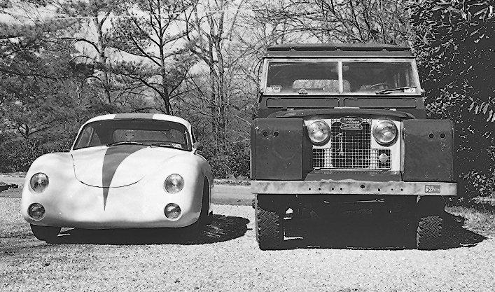 "The Carrera in 1980 posed with my 1966 Land Rover 109"" diesel wagon"