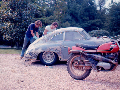 Me (on the left) and my friend James Thompson stripping many layers of paint off the car using the good old aircraft stripper in 1973.