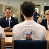After a debate between Senator Dean Tran and Sue Chalifoux Zephir at Leominster High School they met with the students in the school's STUMP (Students for Transparency and Understanding of Municipal Politica) program. SENTINEL & ENTERPRISE/JOHN LOVE