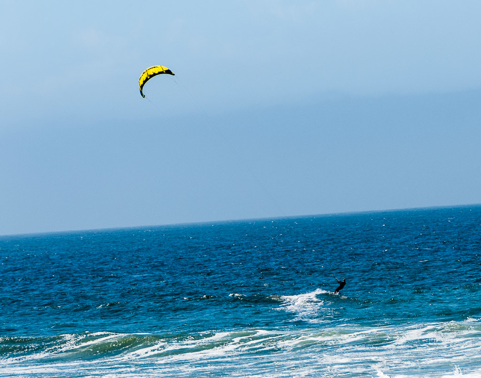 Kite surfing at pebble beach