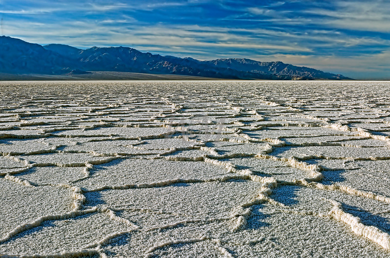 Salt flats at Badwater in Death Valley National Park.