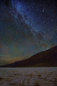 """Stardust,"" Andromeda Galaxy and the Milky Way over Badwater Basin,"" Death Valley National Park"