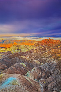 """Glowing Beacon,"" Red Cathedral and Manly Beacon Sunrise, Zabriskie Point, Death Valley National Park, California"