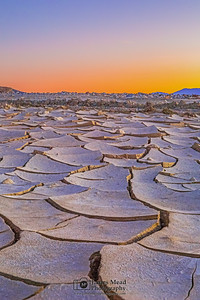 """Broken,"" Nautical Twilight over Mud Cracks, Death Valley National Park, California"