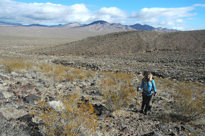 Sooz as we start the up hill section after crossing the some what flat desert.