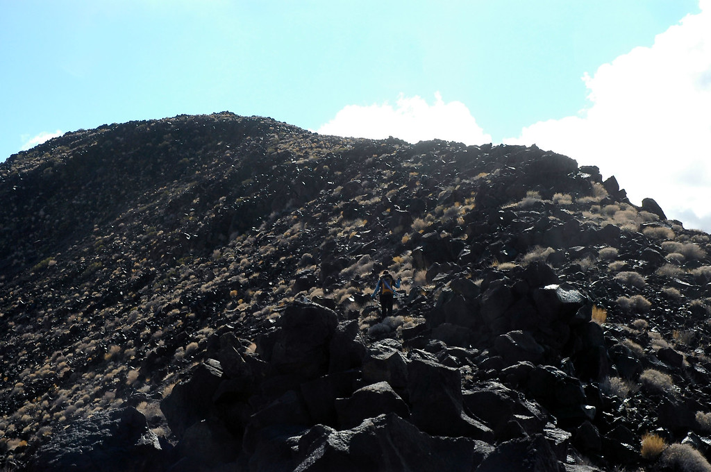 Looking up the rocky ridge that leads to the peak.