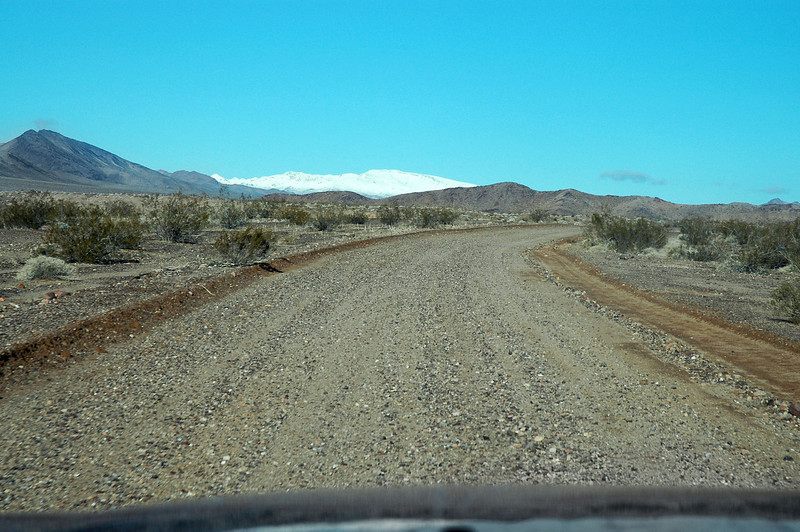 Driving up the Furnace Creek Wash Road. The plan is to hike up to the high point of the Calico Peaks.
