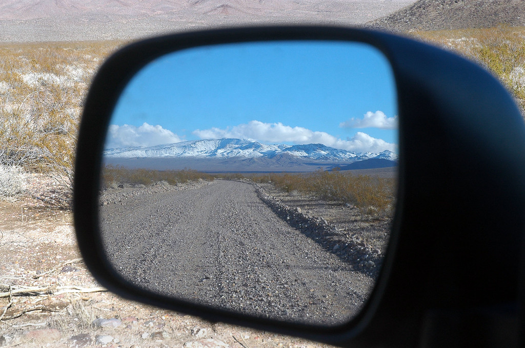 The Funeral Mountains in the mirror.