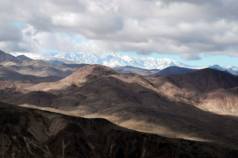 Snow covered Panamint Mountains to the west.