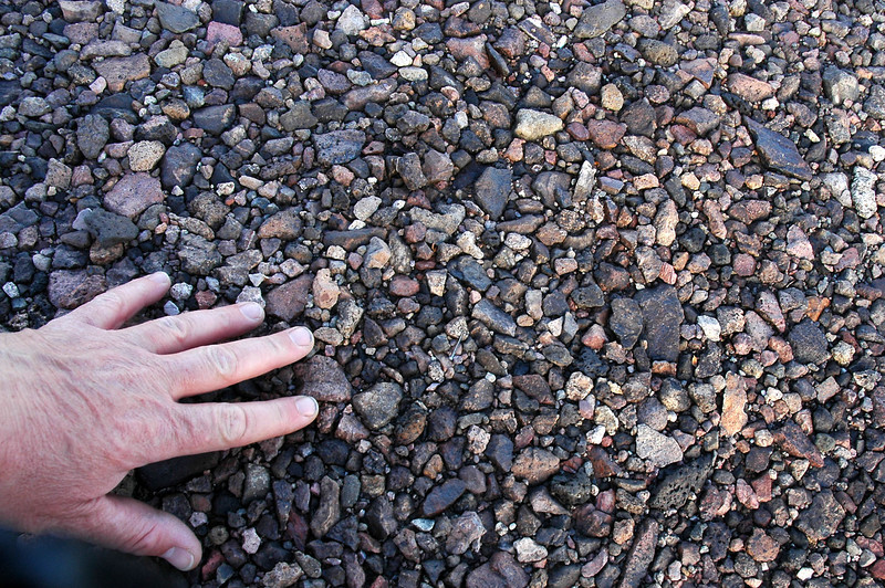 Close up of the small rocks making up the desert pavement.