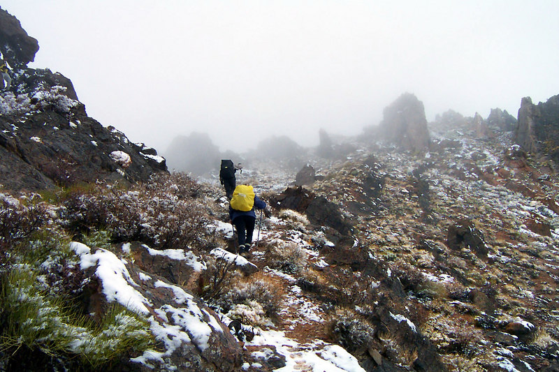 There was a little snow on the ground as we neared the summit.
