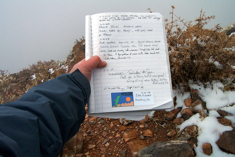 The summit register with our entree.