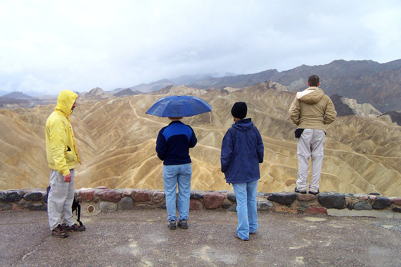 We had planed to climb Manly Beacon today, but woke up to rain. The gang at Zabriskie Point, still raining.