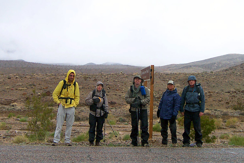 Jay, Kathy, Brian, Sooz and Joe(me) at the start of our hike to Corkscrew Peak. It was raining and there were low clouds. We knew Corkscrew Peak was there, we just couldn't see it.
