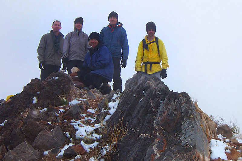 Brian, Kathy, Sooz, Joe and Jay on Corkscrew Peak 5,804'. We didn't have a view, but it still was a great feeling standing on the summit.