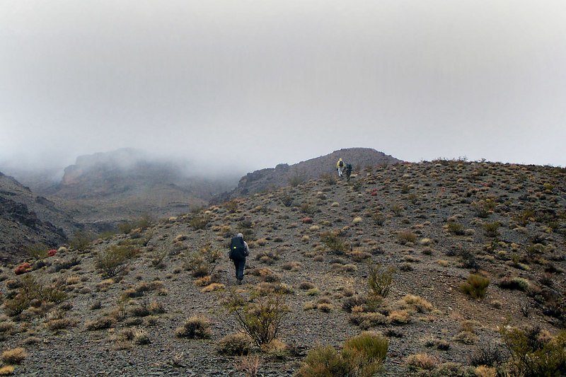 Kathy, Brian and Jay further up the ridge. Corkscrew Peak is up there in the clouds.
