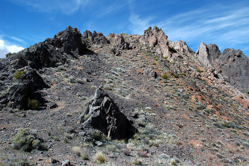 Looking up at the summit from the hole.