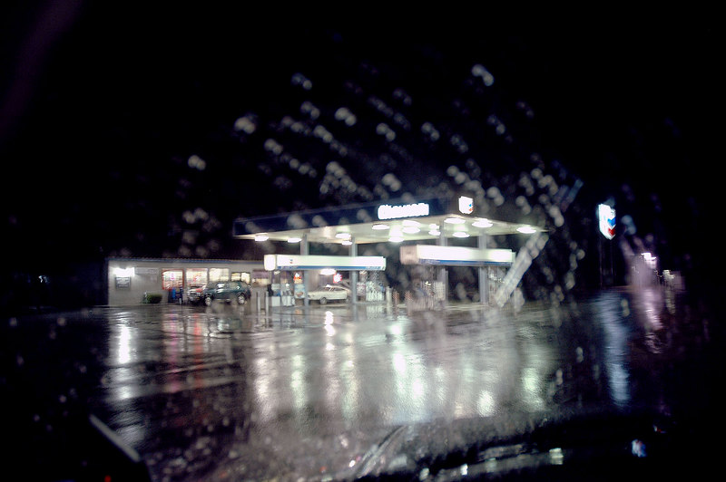 The rains started a short way past Mojave.  This is where I got gas in Inyokern, it's pouring.  Sections of the 178 past Ridgecrest were flooded, but I was able the drive through.