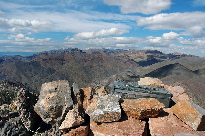 The summit register with a view to the northwest.