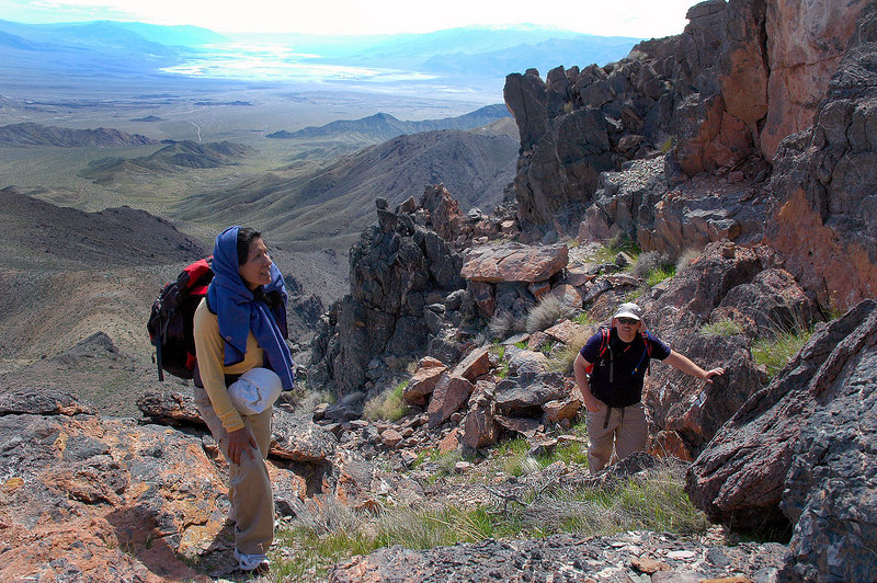 Gabriela and Bruce at the top of a short rock climb. The rest of the way is on very steep trail.