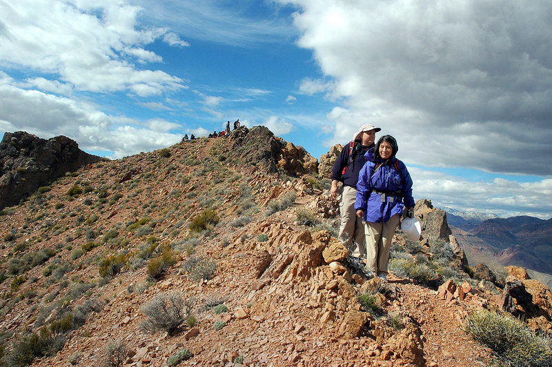 Leaving a group of ten folks behind on the peak as we start the hike down. They arrived a short time after we did.