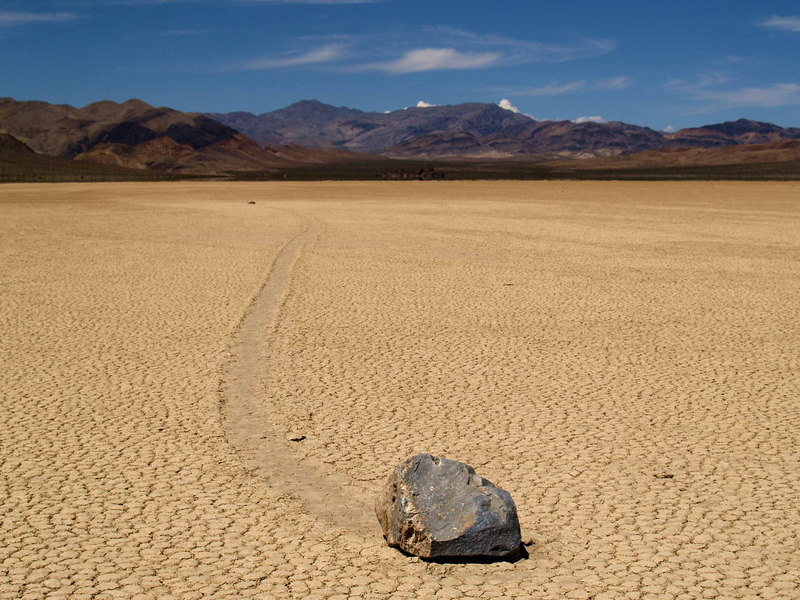 Racetrack Playa<br /> April 29, 2006 <br /> The top layer of finest clays have flaked on drying and been largely removed by the wind.