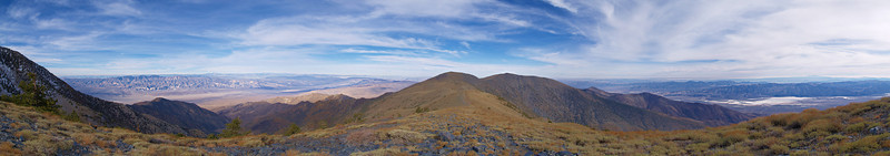 West on the left (Panamint Valley and the Sierras),<br /> North in the center (Bennett and Rogers) and <br /> East on the right (Death Valley, Badwater, the Funeral Range)<br /> from the saddle north of Telescope Peak<br /> Nov. 5, 2006