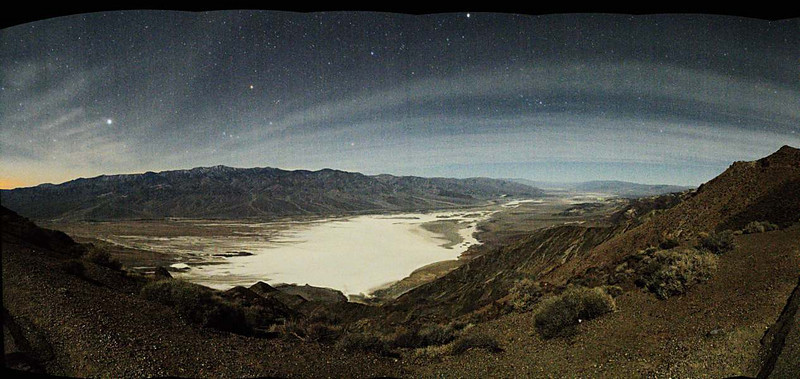 Telescope Peak 11,049'  with the<br /> constellation Orion setting and the<br /> Death Valley Salt Pan -282'<br /> by moonlight Jan. 10, 2007<br /> from Dante's View