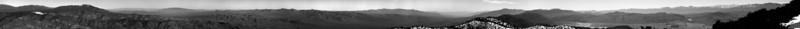 """Last Chance Mountain Panorama Eastern/Southern View Enhanced contrast processed.  The left half of the image skyline shows: Magruder Mtn, Gold Mtn, and Grapevine Peak.  The right half of the image skyline includes: Tin Mtn, Dry Mtn, New York Butte, Keynot Peak, Mt Inyo, Mt Langley, Mt Whitney, Mt Wiliamson, Waucoba Mtn, and Squaw Peak.  <a href=""""http://www.dbdimages.com/photos/75401190_FQXMa-O.jpg""""TARGET=""""blank"""">View large in another window.</a> Use your viewer's zoom function if necessary and be sure to use the sliders."""