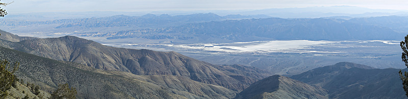 The Eastern View from just north of Telescope Peak<br /> Nov. 5, 2006<br /> This view is from the top of the western headwall of the basin formed by the three branches of Hanaupah Canyon. The three canyons join and discharge a large aluvial fan onto  the west side of the Death Valley salt pan.