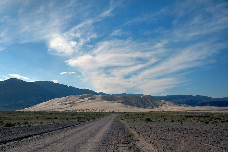 Approaching the Eureka Dunes after driving in on the Death Valley Road from Big Pine.