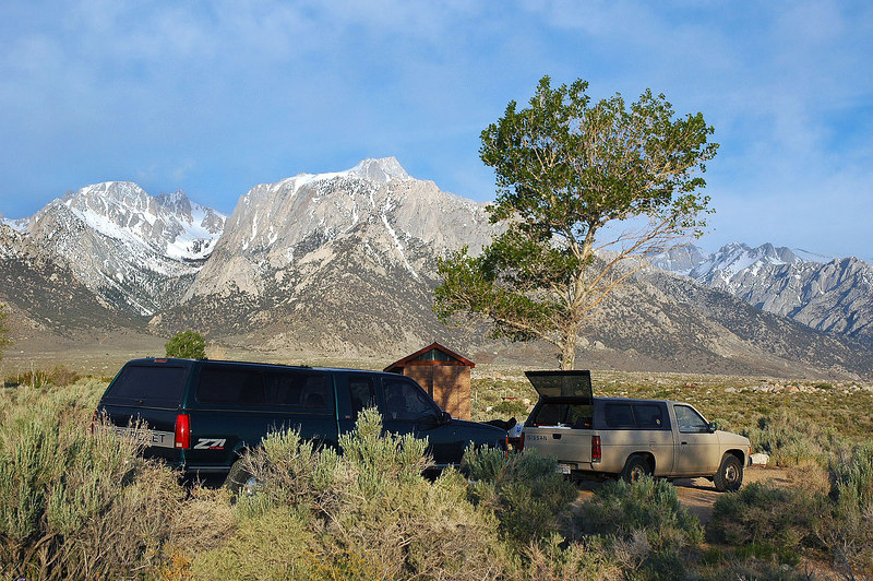 Lone Pine Peak in the morning. This was our camp spot for Friday night. We are going to meet John and Sooz in town for breakfast.
