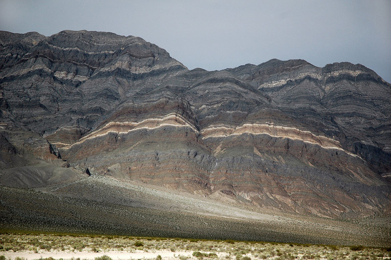 The first of a three shot pano of a section of the Last Chance Mountains from camp.