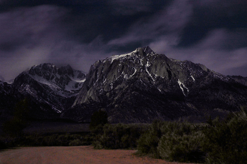 Lone Pine Peak by moon light. This was taken from the Tuttle Creek Campground.