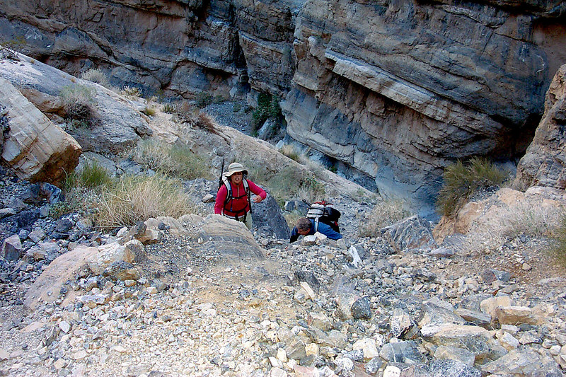 Looking back down on Juliet and Ron near the bottom of the climb. The first 20' of the climb was the hardest part.