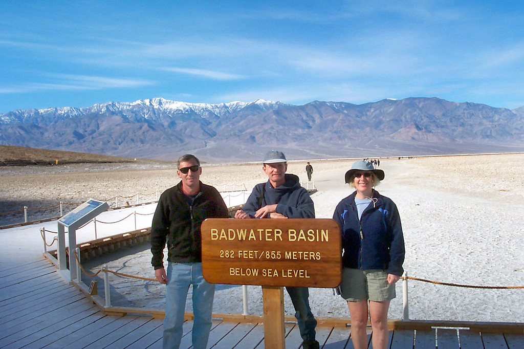 We had to get a photo at the Bad Water sign with the Panamint Mountains.