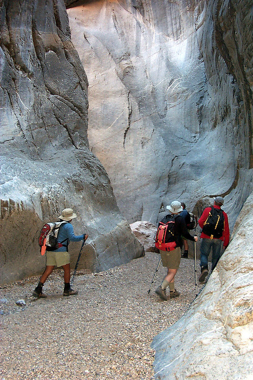 The group hiking through the narrows.