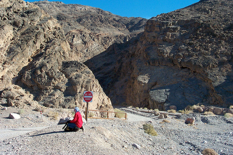 Saturday morning. This is at the exit of Titus Canyon. Our hike up Fall Canyon starts here.