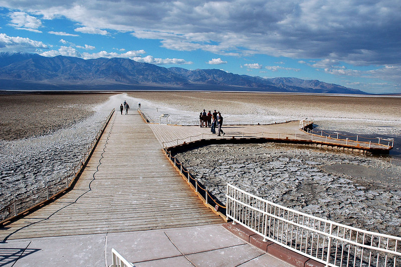 The boardwalk at Bad Water. Came here to get some shots of the salt formations.